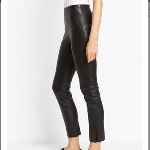 NWOT Vince Black Leather Split Hem Crop Pants